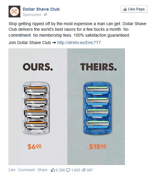 Dollar Shave Club Facebook retargeting ad example