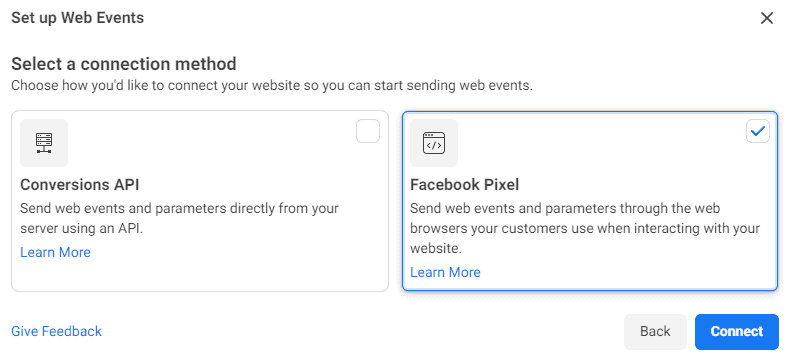 Facebook Pixel connection method