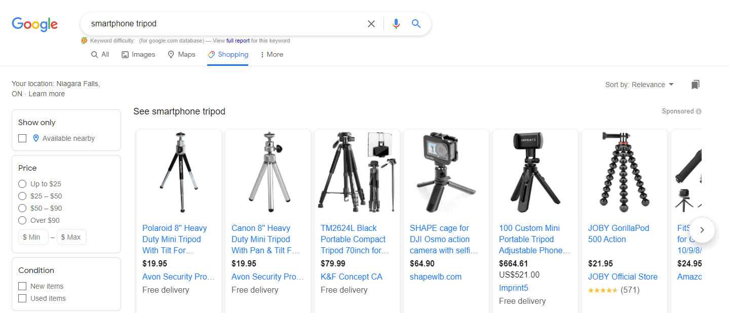 Smartphone tripods on Google shopping
