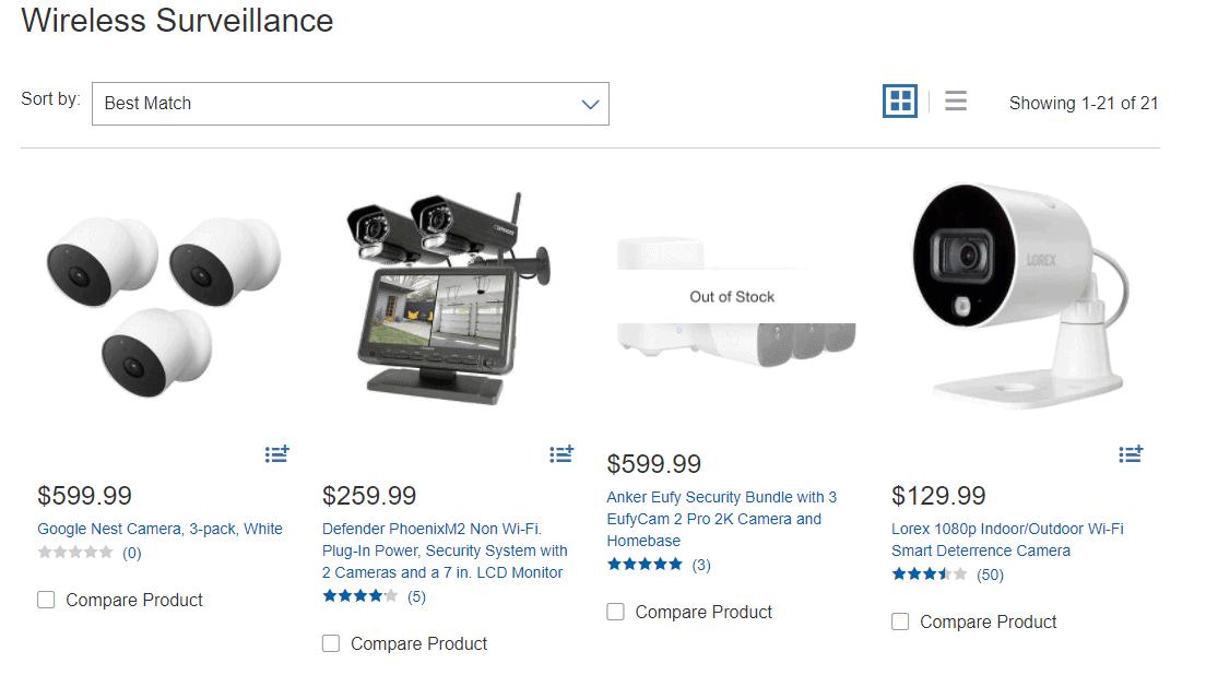 Surveillance camera example